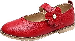 Niños Zapatos Primavera Verano Moda Arco Fiesta Princesa Zapato para bebé Niñas Antideslizantes Suela con Goma Baja Boca Mocasines Piel de Ciervo Lindos Zapatillas de Baile Niña 1-12 Años Todo de Rojo