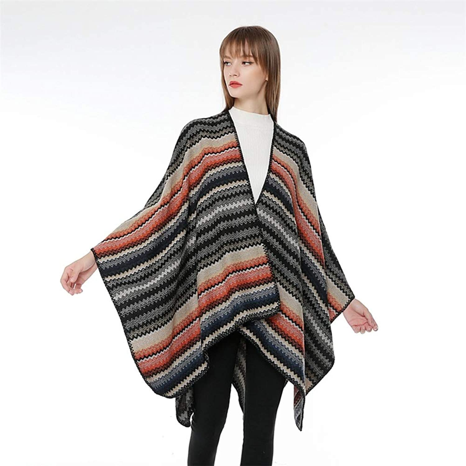 Womens Cape Poncho Coat Ladies Womens Knitting Keep Warm with Multicolor Gradient Pattern Shawl Wrap Cardigan Cloak Jacket for Winter Cocktail (color   D)