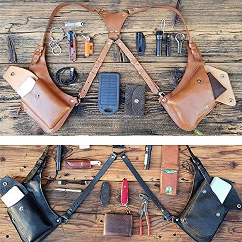 Medieval Steampunk Underarm Satchel, Adjustable Leather Shoulder Bag Vintage Phone Case Wallet Double Holster Pocket Viking Pirate Costume Purse for Women and Men,Black