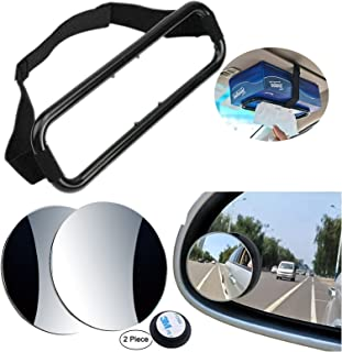 Gardezi Car Tissue box holder fix tissue box sun visor headrest strap mount organizer & 2Blind Spot rear view Mirror 360°R...
