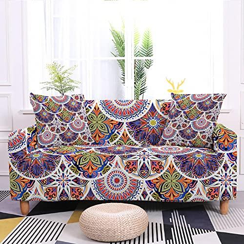 WXQY Funda de sofá elástica Mandala Tela Ajustada Todo Incluido Funda de sofá de Sala de Estar Funda de sillón a Prueba de Polvo A1 2 plazas