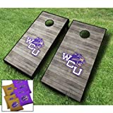 "WESTERN CAROLINA CATAMOUNTS WCU ""Distressed"" Themed CORNHOLE WRAPS BOARD SET Bean Bag Toss + 8 ACA Regulation Bags ~ MADE in the USA"