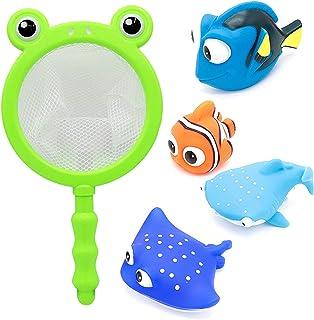 Konig Kids Baby Bath Toys with Fishing Net, Floating Sea Animals, Fish Catching Game Summer Bathroom Pool Bathtub Toy