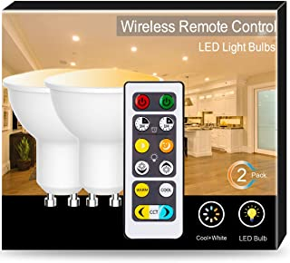 JandCase GU10 Tunable LED Bulbs with Remote Control, Warm Cool White (2700K-6500K) Available, Dimmable, 40W Equivalent, 5W, 350lm, Color Changing Light Bulbs, Adjustable Home Lighting, 2 Pack