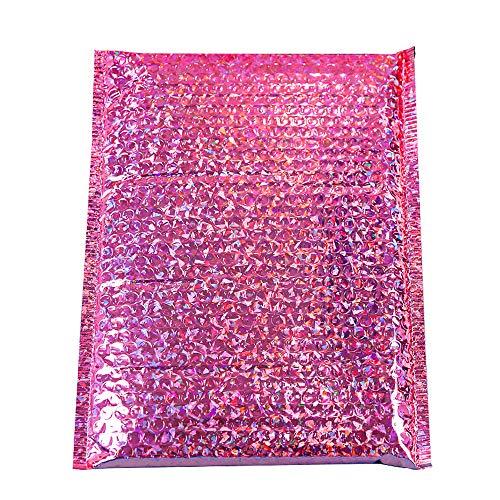 CHZIMADE 10 Stück Laserfolie Pink Luftpolstertaschen Umschlag Tasche Hochzeit Urlaub Geschenk Verpackung Tüte Laserfolie Pink Luftpolsterbeutel 10 Stück