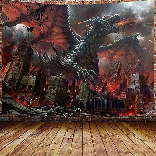 JAWO Fantasy World Tapestry Wall Hanging, Medieval Red Dragon and Human War Mythology Themed Art Tapestries Home Decoration Wall Decor (80W X 60H)