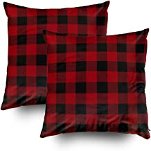 ROOLAYS Decorative Throw Square Pillow Case Cover 20X20Inch,Cotton Cushion Covers Seamless Red & Black Buffalo Plaid Both Sides Printing Invisible Zipper Home Sofa Decor Sets 2 PCS Pillowcase