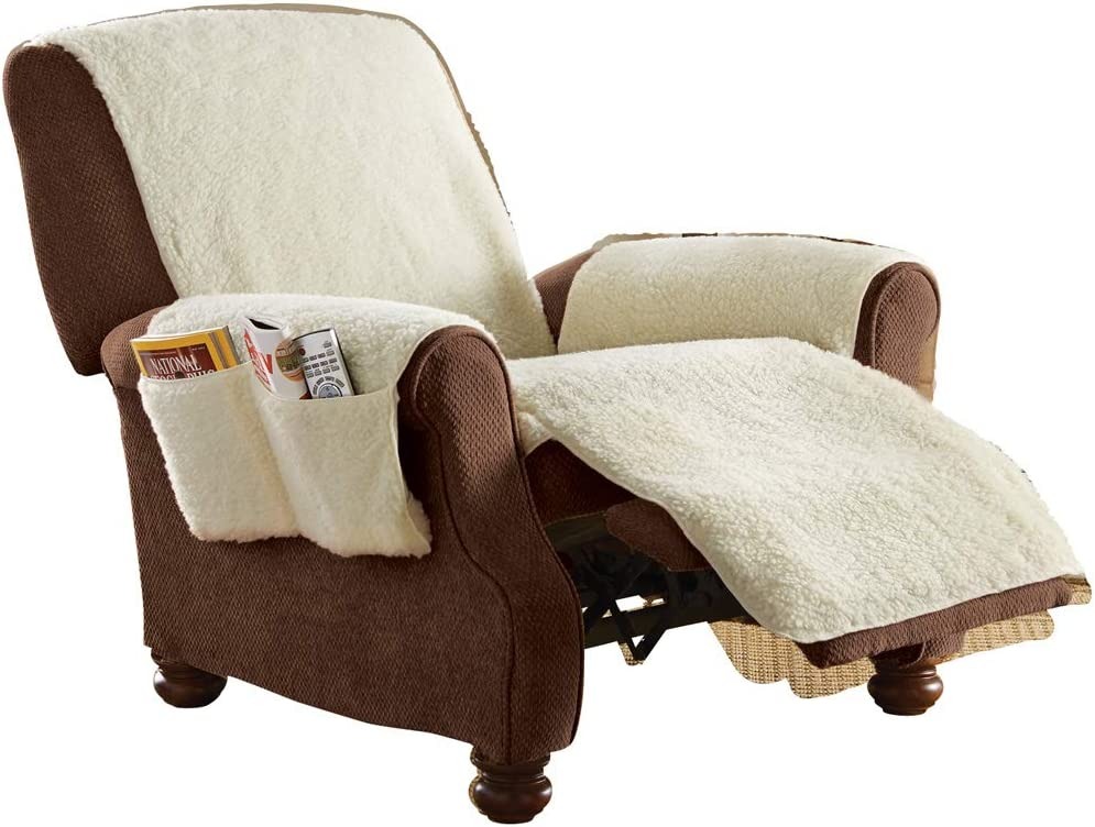 Fleece Recliner Furniture Protector Cover with Pockets, Natural