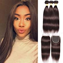 WOME 3 Pieces Peruvian Straight Hair Weave With 4x4 Lace Frontal Closure Color #2 Dark Brown Straight Hair Bundles (18 20 22+18Closure, Dark Brown(#2))