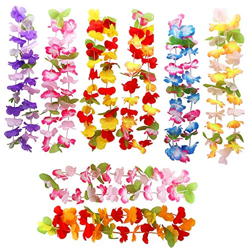 THE TWIDDLERS 40 Pcs Collares Hawaianos de Fiesta - Guirnalda de Flores Lei Luau