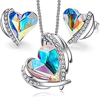 KKX Gift for Her, Jewellery Sets for Women Heart Pendant Necklace and Earrings Set Embellished with Crystals from Swarovsk...