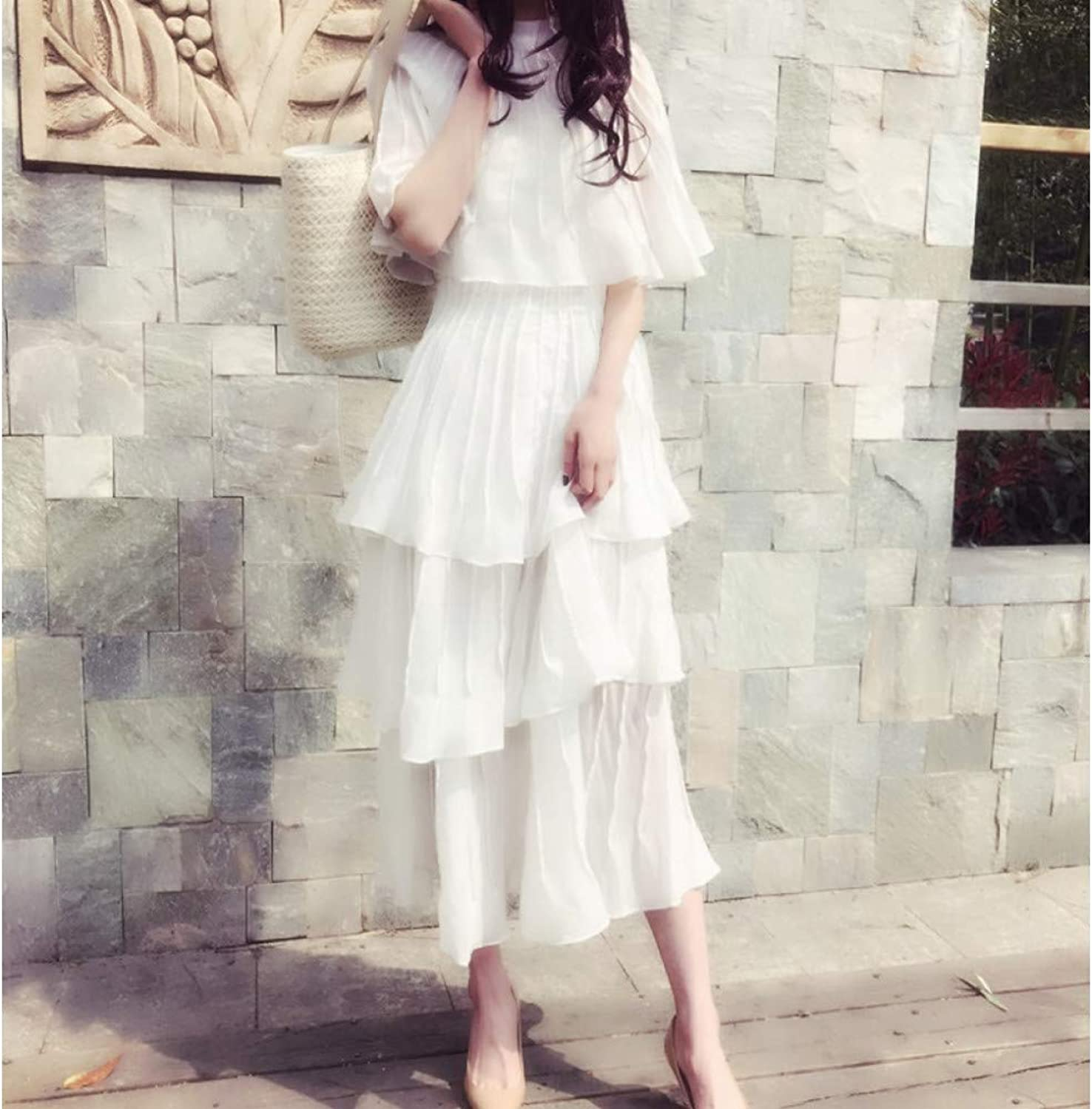 QAQBDBCKL White Fashion Pleated Coat Sleeve Daily Office Ruffle Dress