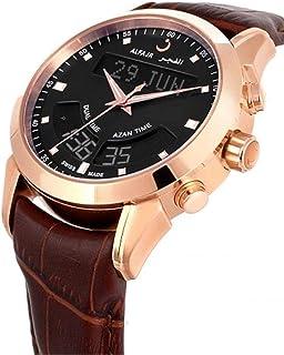 الساعة الفاخرة مع سير جلد طبيعي من الفجر للرجال/ ديجيتال أنالوج دبليو اي - 10 بي اللون البني والأسود