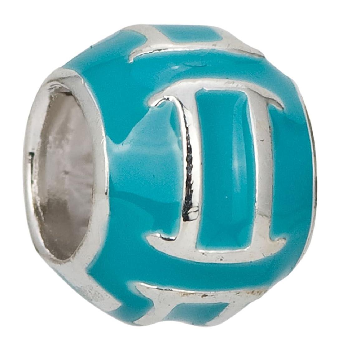 Zodiac Gemini Turquoise Enamel Symbols 925 Sterling Silver Charm Bead Fits European Charms