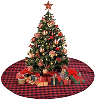 CC&SS 48 Inch Christmas Tree Skirt Red and Black Buffalo Plaid Check Tree Skirt Decorative Handicraft for Holiday Party Christmas Decorations, Double Layers Xmas Tree Skirt