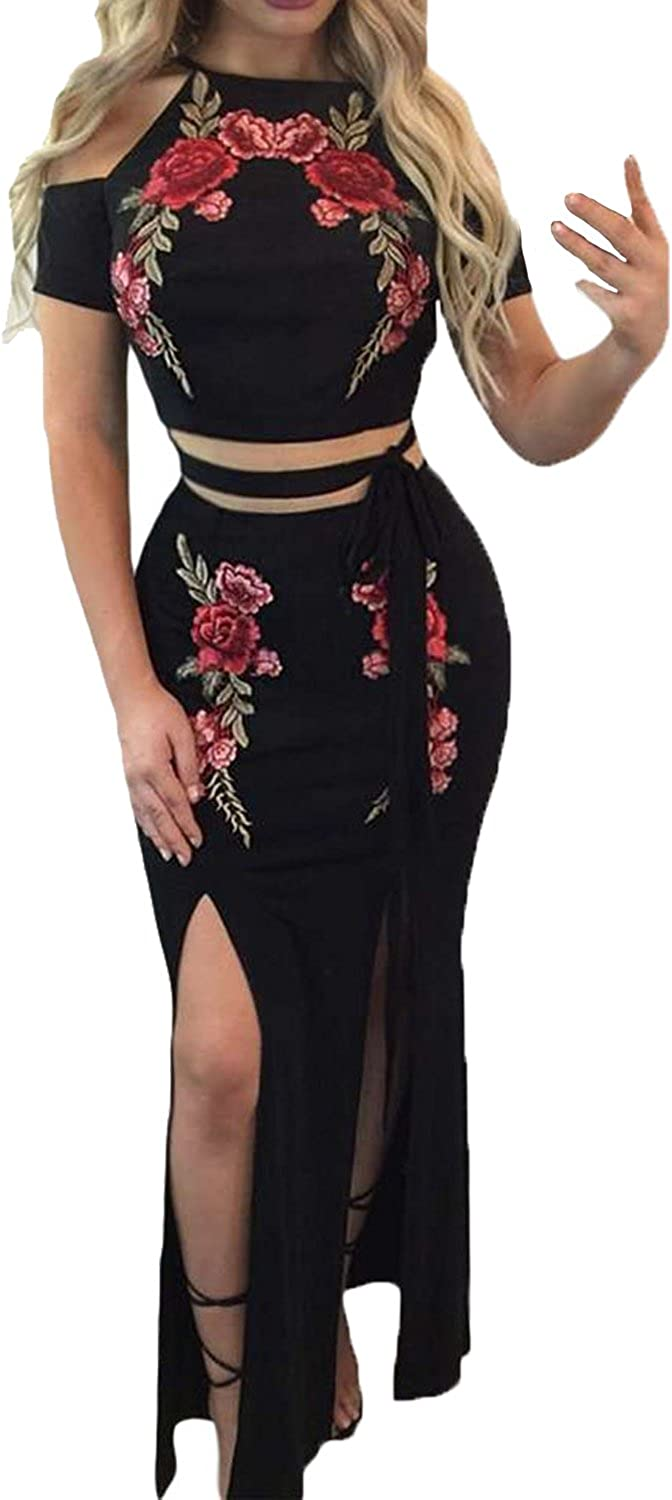 Mr.Stream Women's Embroider Floral Sexy Cold Shoulder Top and Skirt Two Piece Set Maxi Dress