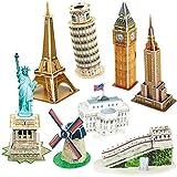 CubicFun Puzzle 3D Mini Colección DIY Model Building para niños, Estatua de la Libertad, Casa Blanca, Empire State Building