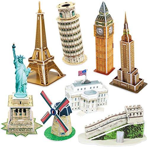 CubicFun Puzzle 3D Statua della libertà, Casa Bianca, Empire State Building, Mini...