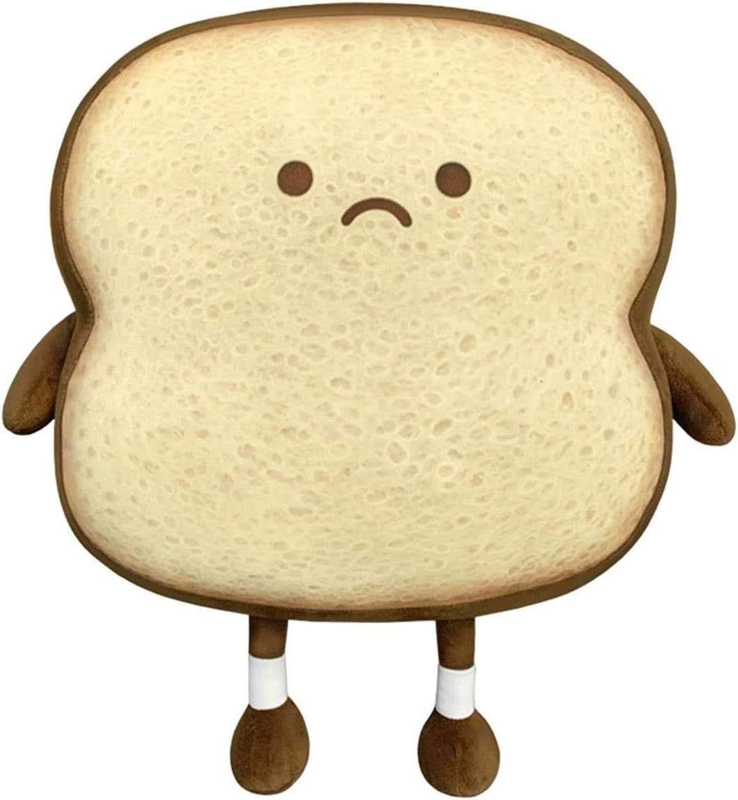 Toast Sliced Bread Pillow,Bread Shape Plush Pillow,Facial Expression Soft Toast Bread Food Sofa Cushion Stuffed Doll Toy for Kids Adults Gift Home Bed Room Decor (S)