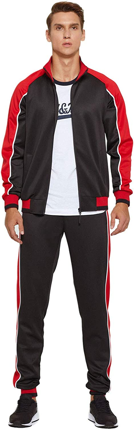 Men's Contrast Color Full Zip Long Sleeve Track Top Pants Athletic 2 Piece Outfits Running Jogging Tracksuits