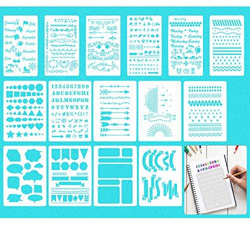 BUZIFU Plantillas de Dibujo para Pintar, 12 piezas Plantillas Bullet Journal, Plantilla Dibujo de Plástico para Decorar Scrapbooking, Cuadernos, Agendas o Manualidades, Transparente(2 Tamaños)