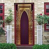 Puerta Pegatinas Mural Estilo Árabe Dorado Papel Pintado Arte Decoración del hogar 86x200cm