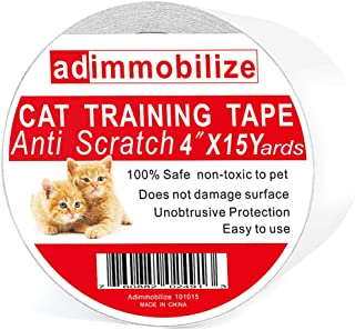 adimmobilize Anti-Scratch Cat Training Tape for Couch, Furniture, Door, 4Inches x 33Yards, 3Inches x 50Yards, 4Inches x 15Yards, 100% Transparent Clear, Removable, Residue-Free, Non-Toxic