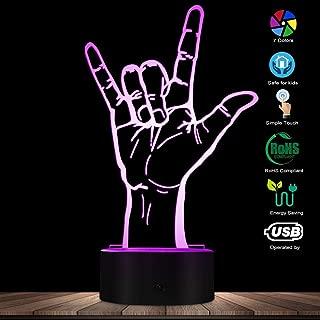ENLAZY 3D Rock Hand Sign LED Light Creativo Ilusión óptica Light Novedad Lámpara de Mesa Heavy Metal Rock Music Fans LED Night Light Regalo para Entusiasta de la música