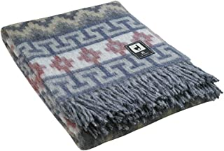 Alpaca Merino Wool Blanket Throw Andes Ethnic Design Warm Soft Peru (Gray/Silver Gray/Blue)
