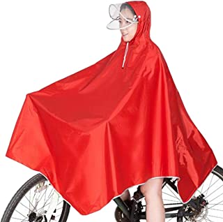 (TERA Dream) レインコート 自転車 ポンチョ タイプ 雨除け ダブル 透明フード付きフリーサイズ レディース
