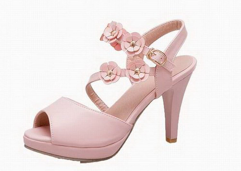 AmoonyFashion Women's Buckle High-Heels Pu Solid Open-Toe Sandals, BUTLT006545