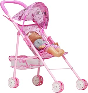 Huang Cheng Toys Doll Stroller 4 Wheels Baby Carriage Irony Pink Foldable with Hood (Without The Doll)