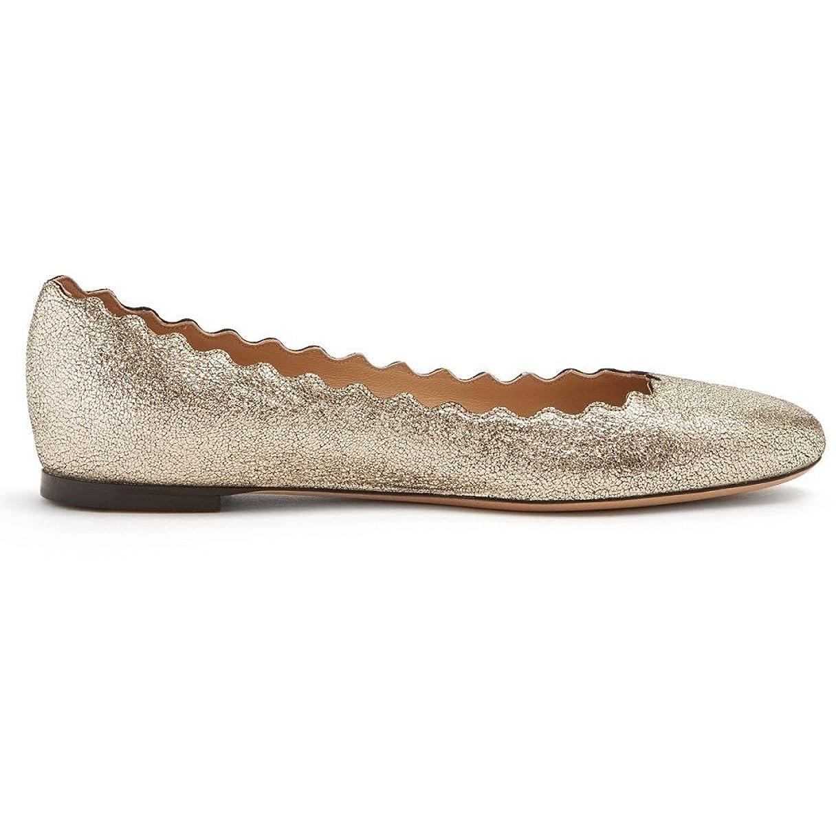 トーナメントおとこ誕生(クロエ) Chloe レディース シューズ?靴 スリッポン?フラット Lauren scallop-edged leather flats [並行輸入品]