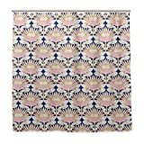 Duschvorhang Blush King Protea Art Deco Polyester-Stoff mit waschbaren, strapazierfähigen Haken für Badezimmer 182,9 x 182,9 cm