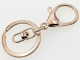 ノーブランド品 ナスカン ピンクゴールド 10個 二重リング 回転フック 付き アクセサリーパーツ キーホルダーパーツ (AP0435)