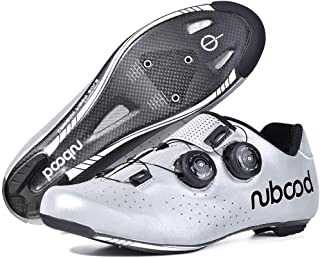 OneChange Road Cycling Shoes Mens Carbon Fibre Lightweight Breathable Riding Shoes Anti-Skid Lock Spinning Bike Shoes for Mountain Bicycle (Color : Silver, Size : 5.5 UK)