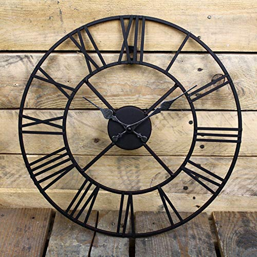BARGAINSGALORE NEW BIG ROMAN NUMERALS GIANT OPEN FACE METAL LARGE OUTDOOR GARDEN WALL CLOCK NEW (60CM)
