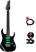 Ibanez UV70P Premium Steve Vai Universe 7 String Electric Guitar Package in Black With Guitar Clip On Tuner and Instrument Cable Bundle