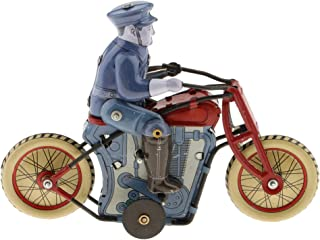 Vintage Policeman Riding Motorcycle Clockwork Tin Toy Collectible Gift with Wind-Up Key