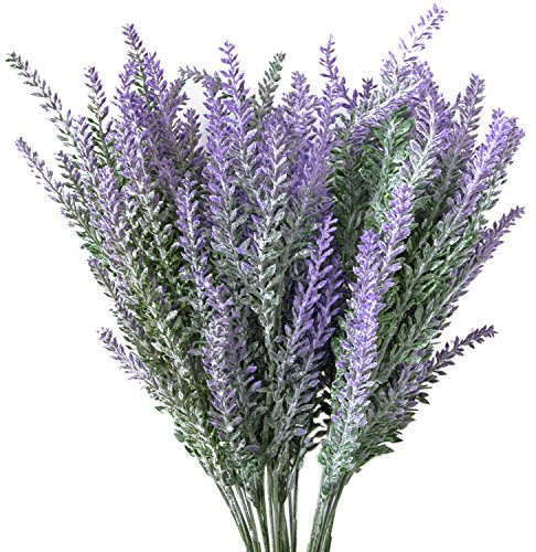 Hibery 6 Bundles Artificial Lavender Plant with Silk Lavender Flowers Lavender Bouquet for Wedding Decor, Home, Garden, Patio Decoration