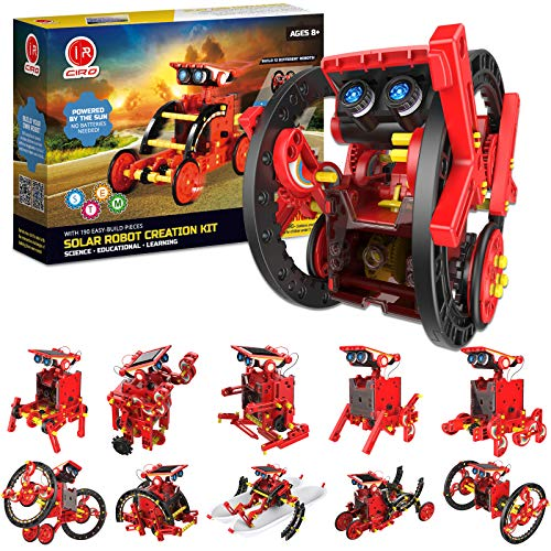 CIRO Solar Robots Kit, Science Toy 12 in 1 Kids STEM Project Kits, 190 Piece Building Toy Science Experiments Robot for Kids,Science Kit for Boy and Girls, Solar Powered Engine Robotics