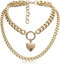 Eoumy Gold Layered Metal Chain Chunky Choker Necklace for Women Light Weight Punk Chain Chunky Choker Elegant Heart Locket Lock Pendant Necklace