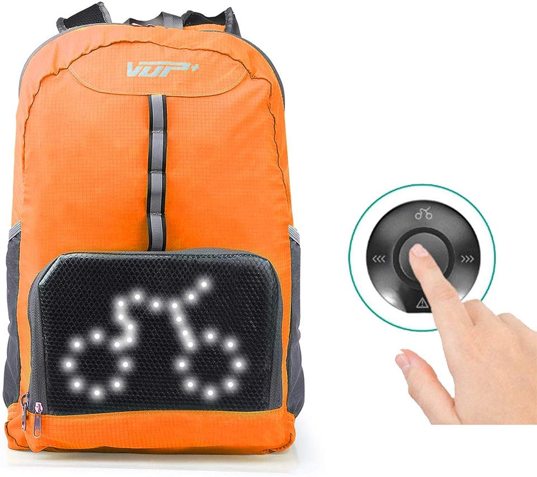 LIUJIE Fahrradrucksack 20L Sicherheits-Sicherheitsrucksack mit hinterem LED-Signaldisplay für volle Sicht und Bewusstsein, damit der Fahrer vor unvorsichtigen Fahrern geschützt bleibt,Orange