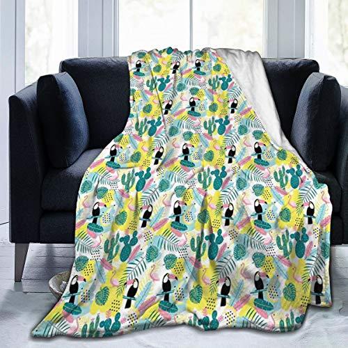 SURERUIM Soft Fleece Throw Blanket,Patrón de Arte de la Isla Aloha Nature con Cactus de flamencos de tucán y Hojas exóticas,Home Hotel Sofá Cama Sofá Mantas para Parejas Niños Adultos,120x150cm