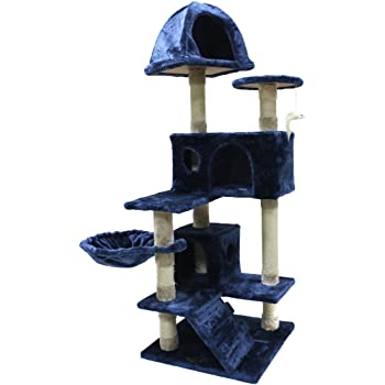 CUPETS Cat Tree Flannelette Cat Climber Play House Condo Furniture with Scratching Post, Activity Tree Pet Products for Cats and Kittens