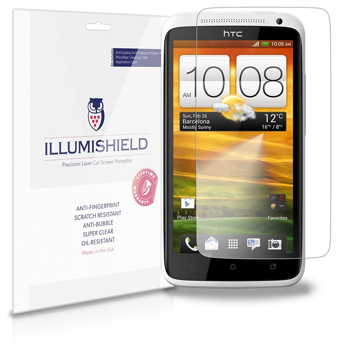 HTC One X+ Screen Protector [3-Pack], iLLumiShield - Japanese Ultra Clear HD Film with Anti-Bubble and Anti-Fingerprint Shield