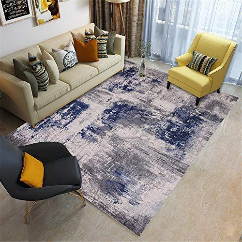 Kunsen La alfombras Antideslizante Alfombra Alfombra de sofá de Sala de Estar de diseño de Graffiti de Arte de Tinta Gris Azul Lavable Resistente a la decoloración Sofá Alfombra 160 * 200cm