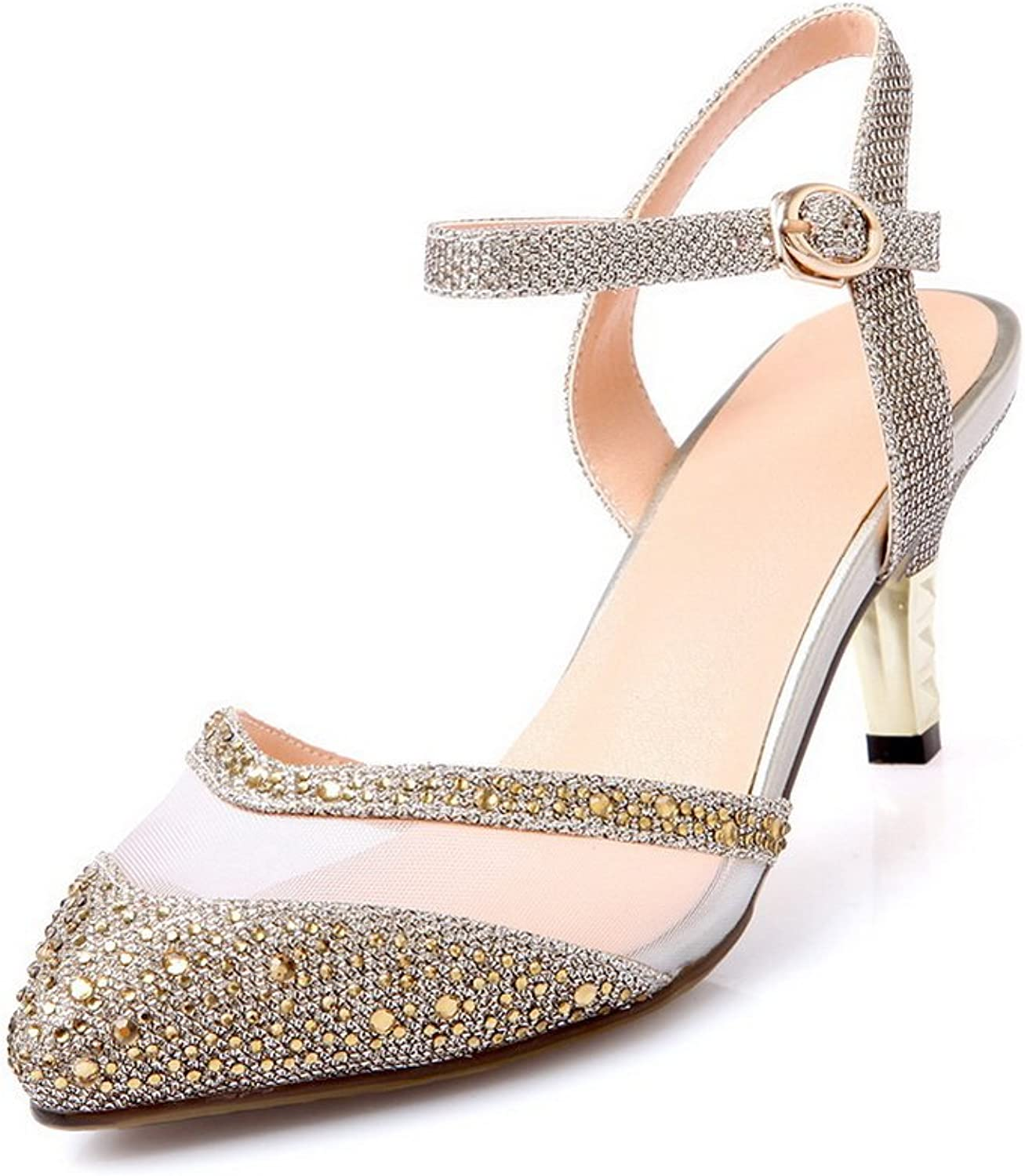 AllhqFashion Women's Buckle Kitten Heels Blend Materials Solid Pointed Closed Toe Pumps shoes