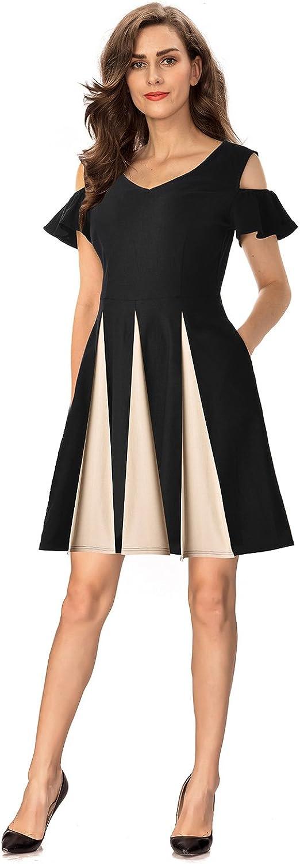 InsNova Women's Cold Shoulder colorblock Swing Cocktail Dress with Pocket