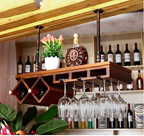 portabottiglie di vino Montato a parete vino rack, Vetro Rack,Vino Vetro Rack , Calici da Champagne in Vetro soffitto porta vino ( Colore : Colore noce nero , dimensioni : 60*28cm )